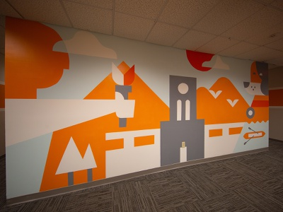 Office Mural ayres flame dog clouds sun birds canoe trees torchbearer smokey knoxville tennessee mural design office mural