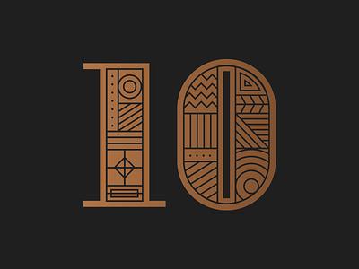 10s lettering pattern shape numeral number illustration geometric 10 ten