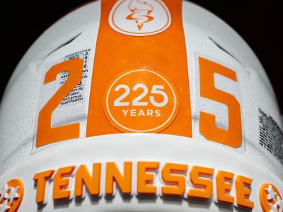 225 Years pt. I sec ncaa football helmet anniversary volunteers university of tennessee typography knoxville type tennessee
