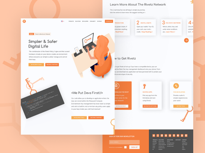 Rivetz Home Page Mock branding simple ui ux security app orange cybersecurity security vector design procreate fun character illustration webdesign website web
