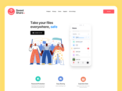 Sweet Share Landing page safe expiration date easy sharing password dropbox landing page design file manager upload landingpage
