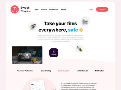 Sweet Share Vr2 Landing page app download sharing upload web design landing page