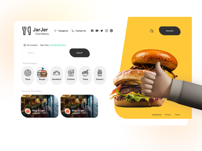 JarJer food Delivery webdesign search icons delivery food landingpage
