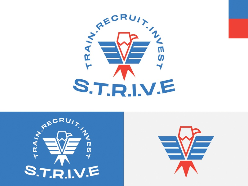 S.T.R.I.V.E. Logo logo eagle logo veterans red white blue eagle america