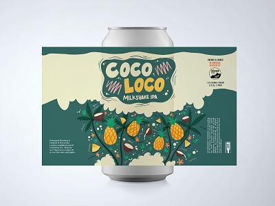 Coco Loco Milkshake Beer Can pineapple coconut beer art beer can beer label beer