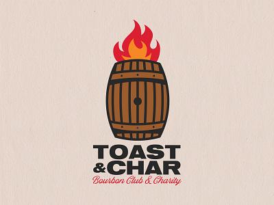 Toast & Char fire barrel illustration charity bourbon logo