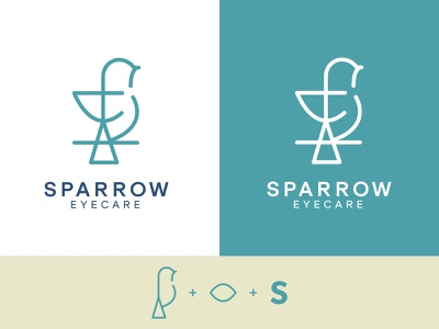 Sparrow Eyecare Logo branding illustration negative space bird eyecare sparrow logo