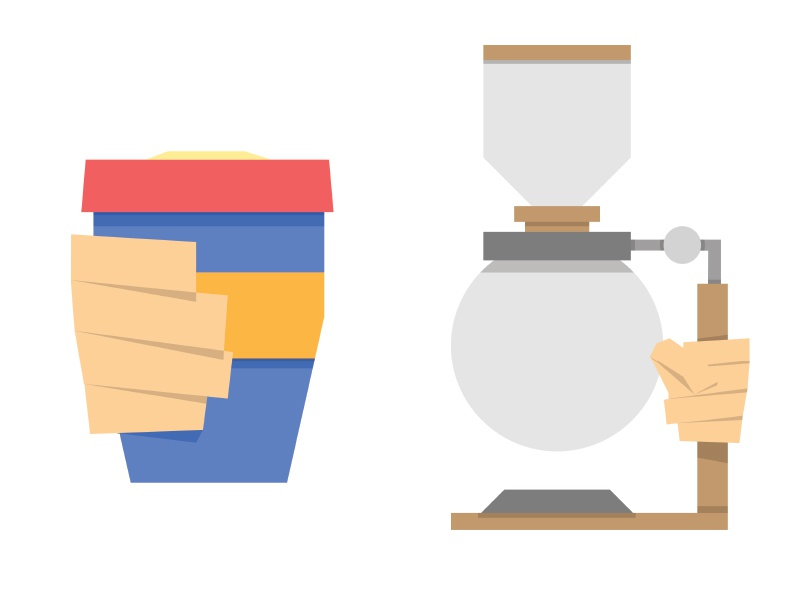 Coffee Illustrations - WIP coffee keepcup siphon illustrated