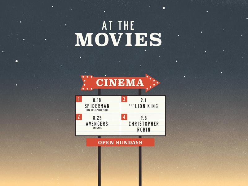 At the Movies marquee cinema sermon series movies