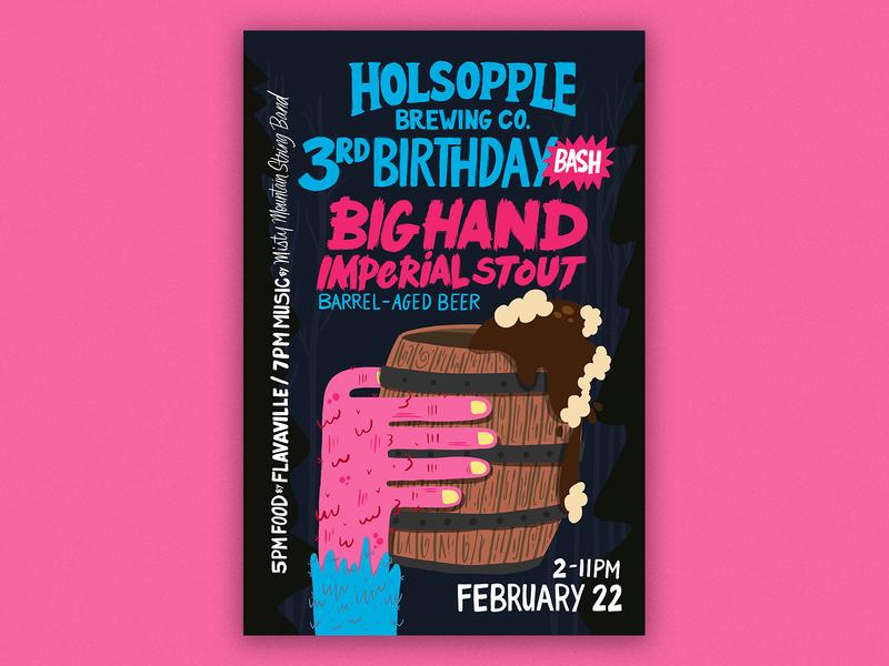 Big Hand Stout Poster applepencil ipadpro poster beer art bigfoot big hand beer poster beer