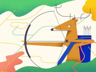 Deer Archer style frame motion illustration deer