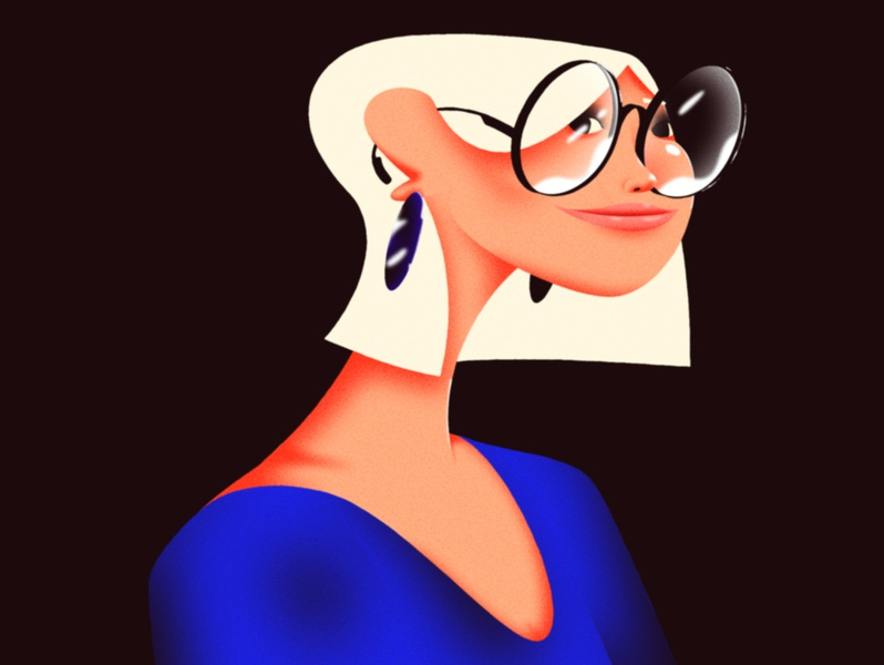 Girl with Glasses 2d design character after effects illustration