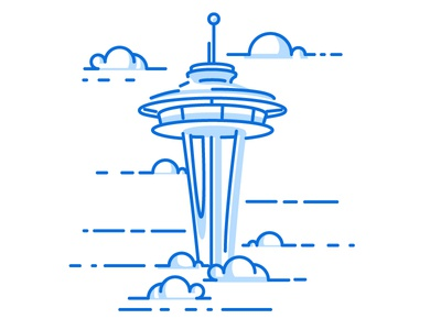 Seattle - Freedom Frames 02 clouds july 4th 4th of july independence seattle space needle stroke vector illustrator