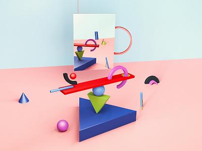 Balance conceptual mirror shape elements shape minimalism artist inspiration c4d digital creative art 3d