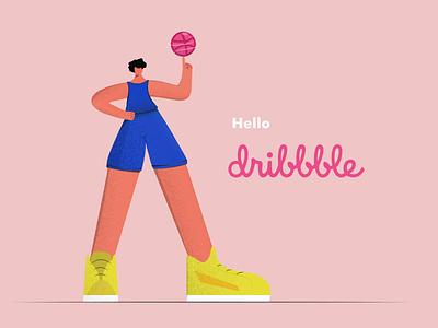 helllo dribbble app illustration web illustration minimal basketball player basket ball basketball flat illustration illustrations digital illustration illustration art illustrator illustration flat digitalillustrating