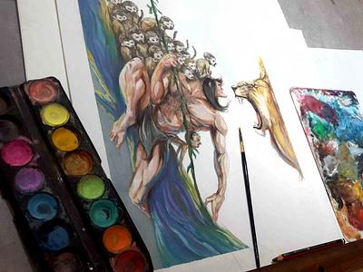 Tarzan mono monkey tarzan design animal art illustration alex arte gouache alex castillo