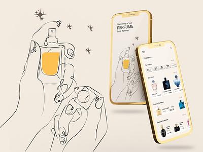 Perfume App fashion app channel dior perfume branding ux ui illustrator illustration flat design