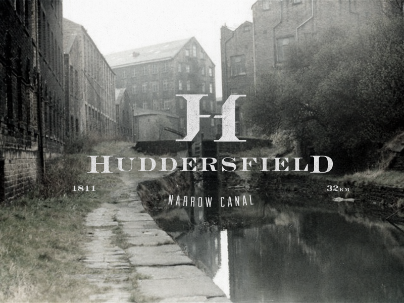 Huddersfield Narrow Canal logo vintage retro canal typography