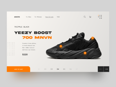 YEEZY boost - concept online store web design yeezy adidas sneakers interface clean ux ui website web