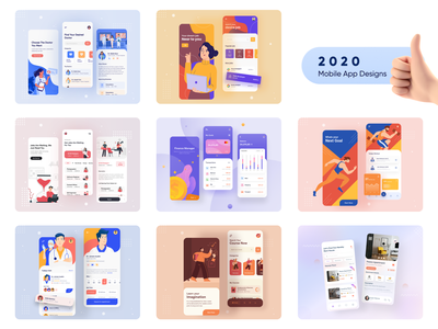 2020 Mobile App Designs illustration figmadesign 2020 trend education learning finance appointment agency mobile apps best design top design