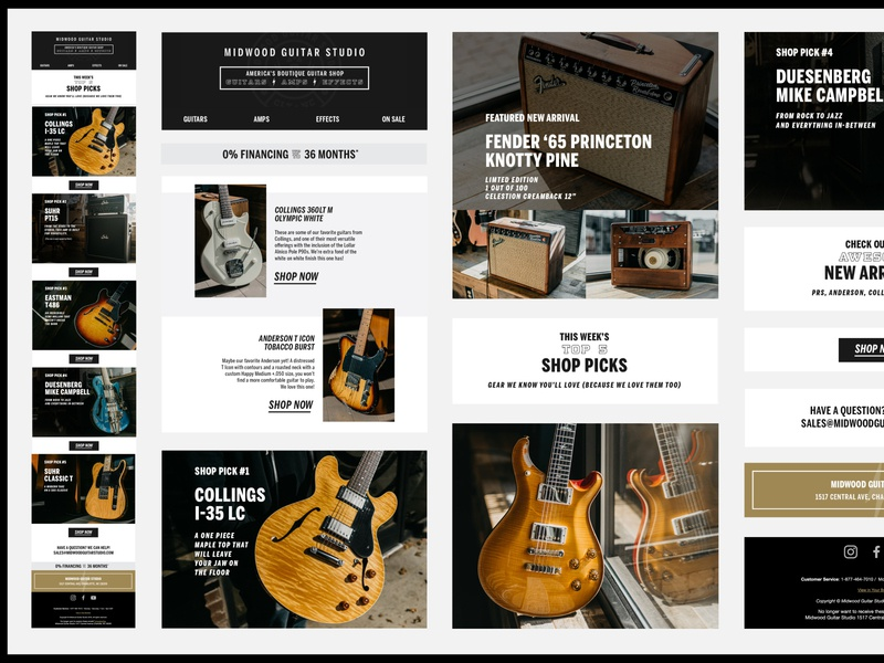 Midwood Guitar Studio - Email UI Elements music guitar campaign marketing email design email marketing layout web design digital ux ui email design