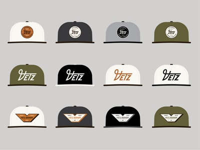 Vetz Garage - Hat Concepts apparel design concept apparel hats hat branding type identity lockup badge brand logotype retro logo typography vintage