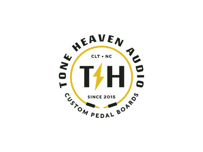 Tone Heaven Audio effects band guitar pedal guitar music icon branding identity lockup badge brand logotype retro logo typography vintage