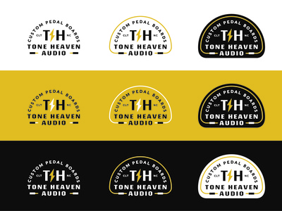 Tone Heaven Audio guitar pedal yellow lightning cable band music guitar patch type identity lockup badge brand logotype retro logo typography vintage