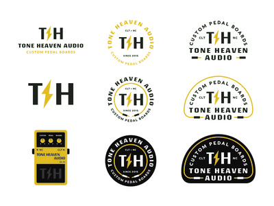 Tone Heaven Audio Brand Package illustration yellow audio guitar pedal lightning guitar music patch icon branding type identity lockup badge brand logotype retro logo typography vintage