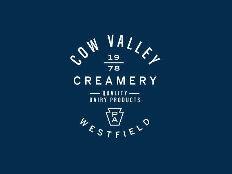 Cow Valley Creamery - Concept 1 country farm pa pennsylvania creamery milk dairy branding type lockup identity badge brand logotype retro logo typography vintage