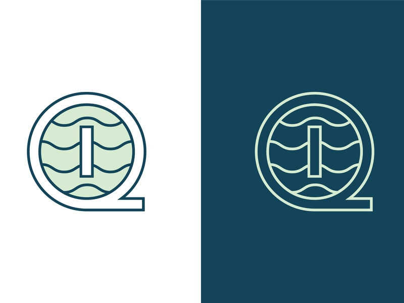 IQ Mark clean modern illustration lockup ui green blue logo design waves monogram icon logo identity badge brand