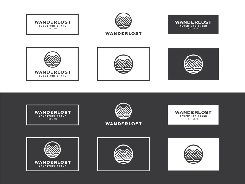 Wanderlost illustration circle patch nature hike hiking mountain adventure outdoor branding type identity lockup badge brand logotype logo retro vintage typography
