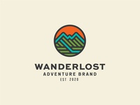 Wanderlost Logo patch wander outside travel outdoor mountain icon branding identity lockup badge brand logotype retro logo vintage typography