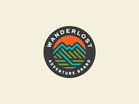 Wanderlost Badge mountain hike outside adventure outdoor icon branding identity lockup badge brand logotype retro logo vintage typography