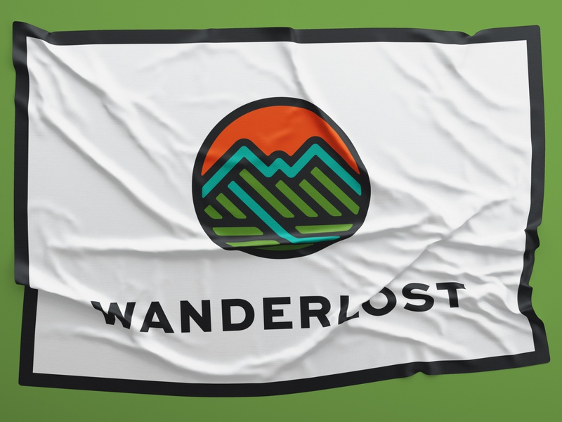 Wanderlost Flag pennant banner hiking hike adventure outside mountain flag icon branding identity badge brand logotype retro logo vintage typography
