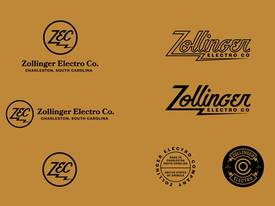 Zollinger Electro Co electric guitar pedal music guitar script type branding lockup identity badge brand logotype retro logo vintage typography