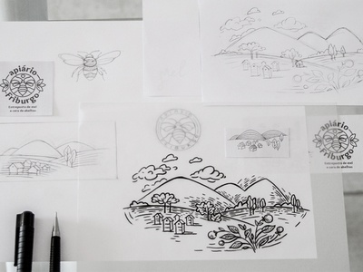 Apiary sketches had illustration