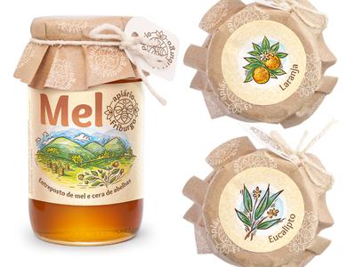Honey packaging design and Illustration honey