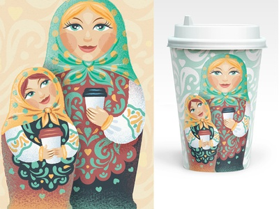Russian doll illustration matreshka paper cap russian doll