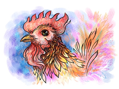 Illustration for calendar rooster