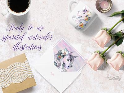 """My sweet unicorn"" handpainted watercolor clipart watercolor art watercolor unicorn typography illustration design clip art clipart"
