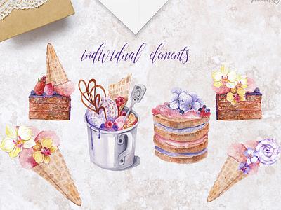 """My sweet unicorn"" handpainted watercolor clipart watercolor art sweets cake cake shop watercolor unicorn typography illustration design clip art clipart"