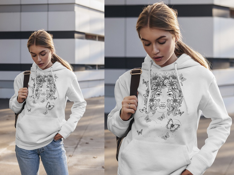 Hand-drawn black and white hoodie prints.
