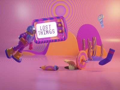 LOST THINGS psychedelic hand diver pencil key sock lost colorpalette contrast opart design octanerender cinema4d