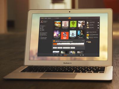 Sound Cloud Application Concept soundcloud application concept mockup psd freebies download black dark clean music player