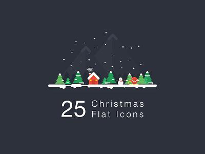 Christmas Flat Icon freebies icon flat illustration psd christmas snowman rudolph deer tree snow santa