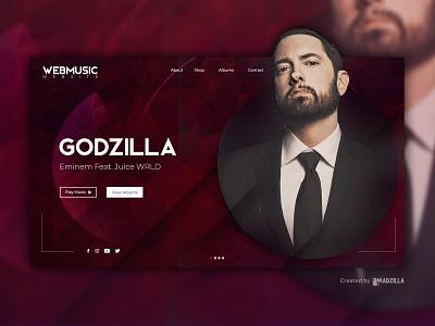 Godzilla - Eminem feat. Juice WRLD Design Inspiration website designer website design website concept website ui illustration design branding