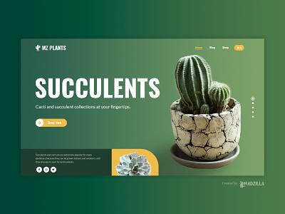 Succulents Design Inspiration website concept website designer website design ui website illustration design branding