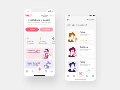 ROSA app — Conceptualización ui productdesign coronavirus codiv app