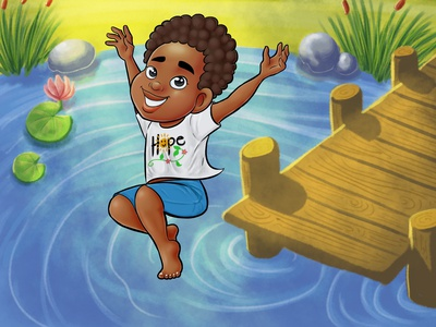 A day in a pond art cartoon digital painting illustraion children book illustration